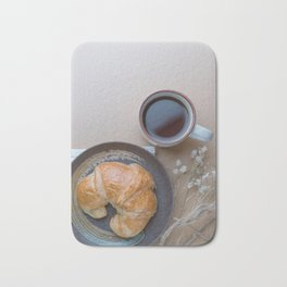 Croissant and black coffee Bath Mat