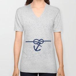 Nautical navy blue white anchor watercolor splatters Unisex V-Neck