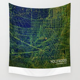 Holywood old map year 1924 green art print Wall Tapestry