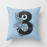 three of the possessed Throw Pillows featuring Three by barmalisiRTB
