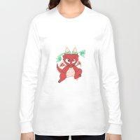 magic the gathering Long Sleeve T-shirts featuring Chibi Red Dragon Magic the Gathering Token by Deadlance