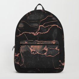 Black Marble and Rose Gold Backpack