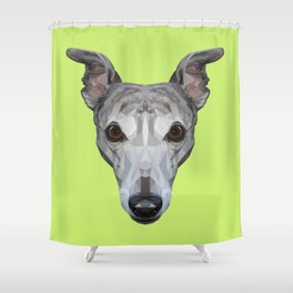 Whippet // Green Shower Curtain
