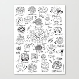 Pies and Tarts Illustrated Alphabet Canvas Print