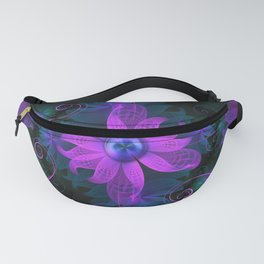 Beautiful Ultraviolet Lilac Orchid Fractal Flowers Fanny Pack