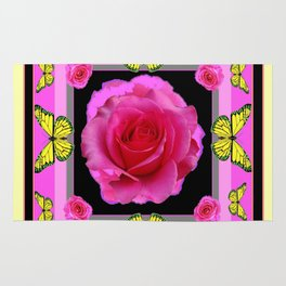 Pink Rose Yellow Monarch Butterflies Deco art Rug