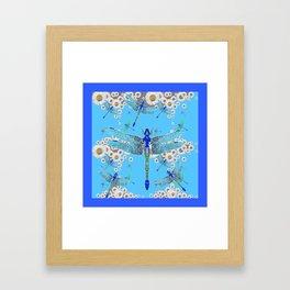 BLUE DRAGONFLIES LILAC WHITE DAISY FLOWERS  ART Framed Art Print