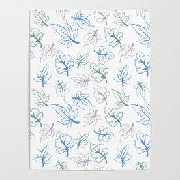 Pastel Leaves Pattern Poster