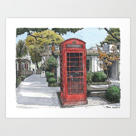 Red phone box in Davis Art Print