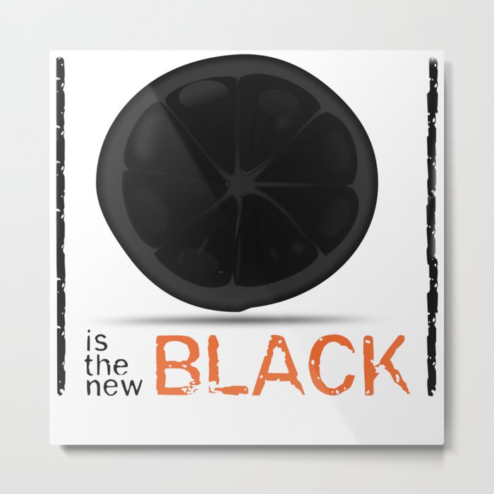 Orange / Black Metal Print