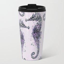 Purple Watercolor Seahorse Travel Mug