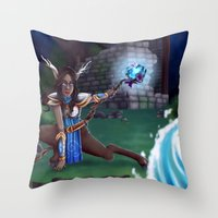 arya Throw Pillows featuring Guardian of The Forest by Sara Poveda