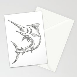 Atlantic Blue Marlin Doodle Stationery Cards