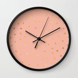 Millennial Pink Gold Pastel Pattern Wall Clock