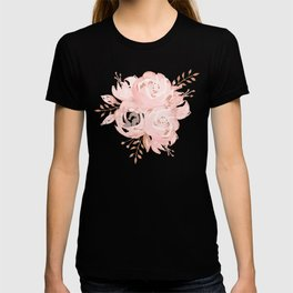 Roses Rose Gold Glitter Pink by Nature Magick T-shirt
