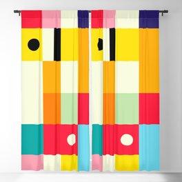Geometric Bauhaus Pattern   Retro Arcade Video Game   Abstract Shapes Blackout Curtain