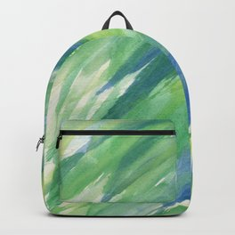 Blue green yellow watercolor hand painted brushstrokes Backpack