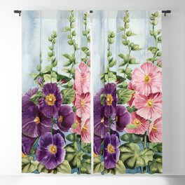 New Mexico Hollyhocks Watercolor Blackout Curtain