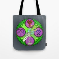 kingdom hearts Tote Bags featuring Kingdom Hearts stained glass illustration  by Paul Giovinco