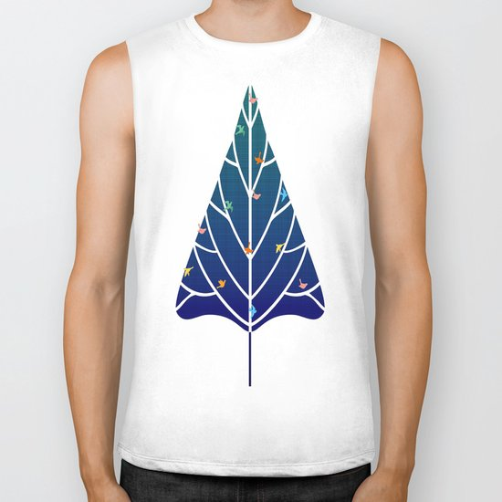 Tree with birds (blue-red) Biker Tank