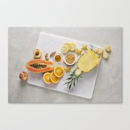 Yellow and Orange Organic Fruits and Vegetables Canvas Print