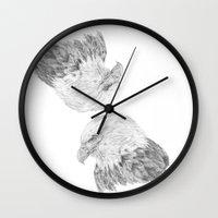 eagle Wall Clocks featuring Eagle by Ora Kolmanovsky