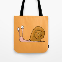 Funny snail with silly face expression Tote Bag
