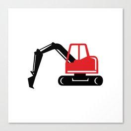 Mechanical Excavator Digger Retro Icon Canvas Print
