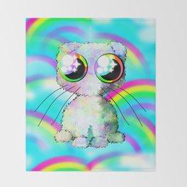 curly kawaii pet on rainbow and cloud background Throw Blanket