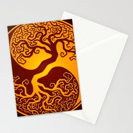 Red and Yellow Tree of Life Yin Yang Stationery Cards
