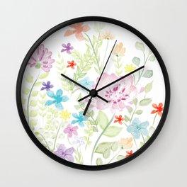Mixed Wild Flower Wall Clock