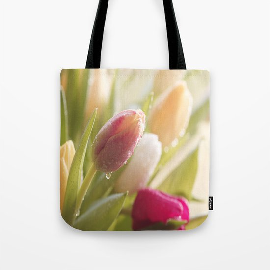 Bouquet of tulips spring flowers in pastel Tote Bag