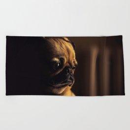 Cute Pug Dog Beach Towel