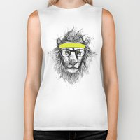 lion Biker Tanks featuring hipster lion by Balazs Solti