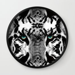 Dressed To Kill - White Tiger Art By Sharon Cummings Wall Clock