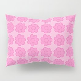 Beauty Powder Puff Pink - Light on Medium Stitched Flowers Pillow Sham