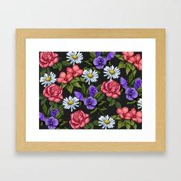 Flowers on Black Background, Original Art Framed Art Print