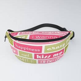 Pink and Green Typography Love Letters Print Fanny Pack