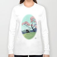 asian Long Sleeve T-shirts featuring Asian bear by David Pavon