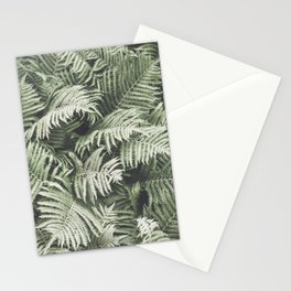 Fern Pattern Dull Green Print Stationery Cards
