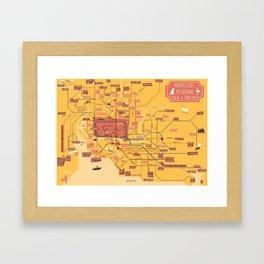 Melbourne Rail Map Framed Art Print