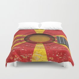 Old Vintage Acoustic Guitar with Macedonian Flag Duvet Cover