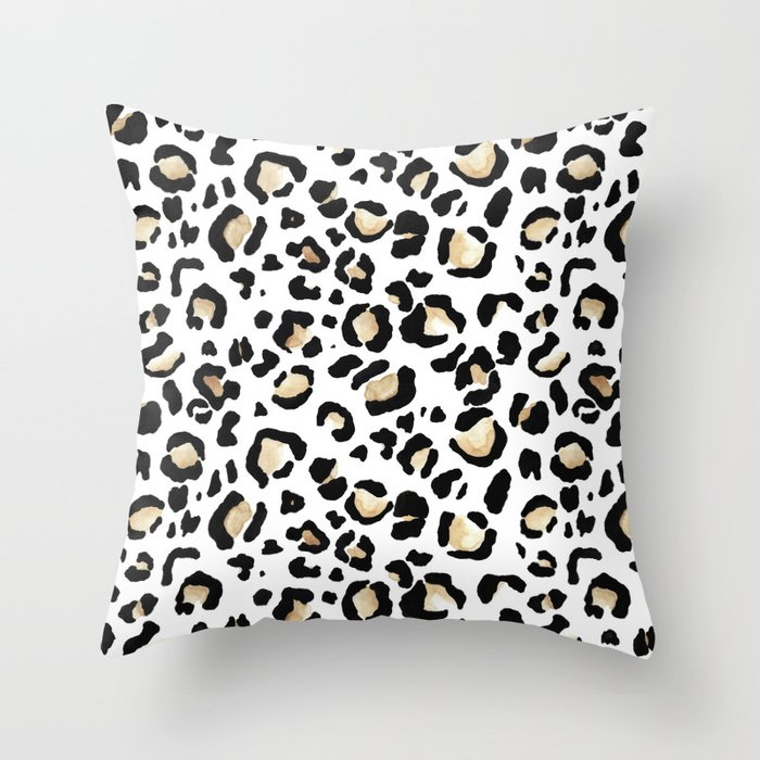 Leopard Animal Print Watercolour Painting Throw Pillow By Elemestudios Society6