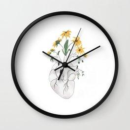 Painted Flowering Heart Wall Clock