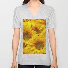Yellow Mellow Sunflower Bouquet #decor #society6 #buyart Unisex V-Neck