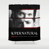 sam winchester Shower Curtains featuring The Winchester Brothers by Sarah Sangelus