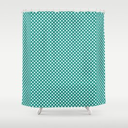 Dynasty Green and White Polka Dots Shower Curtain