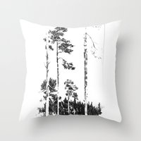 birch Throw Pillows featuring Birch  by Kelly Baskin