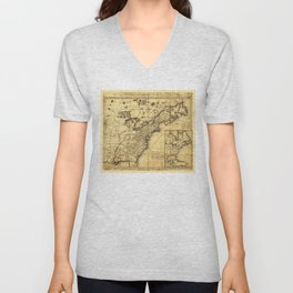 Map of the English Empire in North America (1755) Unisex V-Neck