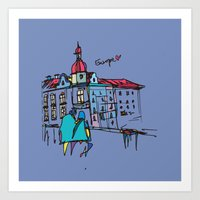 europe Art Prints featuring europe by PINT GRAPHICS
